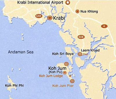 map koh jum krabi ที่ตั้งเกาะจัม กระบี่